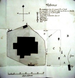 1786 -plan of the church does not show the Alehouse. There is a hearse house located to the North of the Church (E)