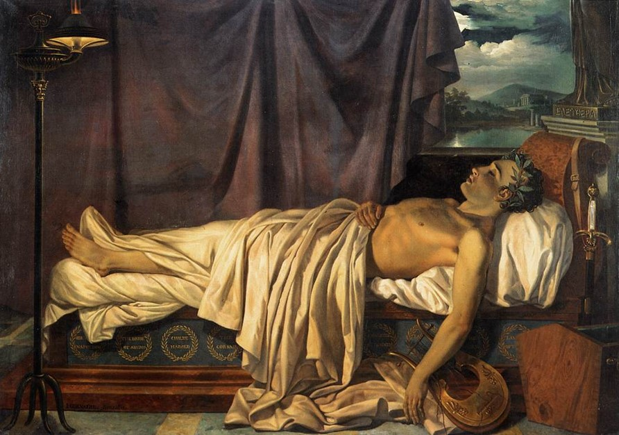 Lord Byron on his deathbed as depicted by Joseph-Denis Odevaere