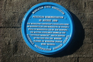 Peterloo Blue Plaque in Barrowfields