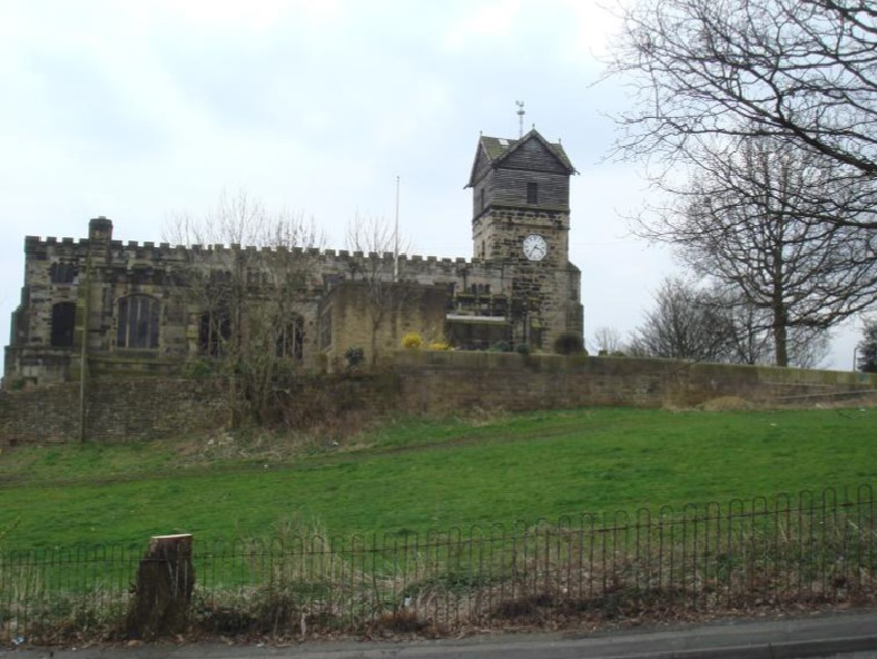 Ill. 5.4.12: St Leonard's church from the north, with the site of the Church House on the extreme right